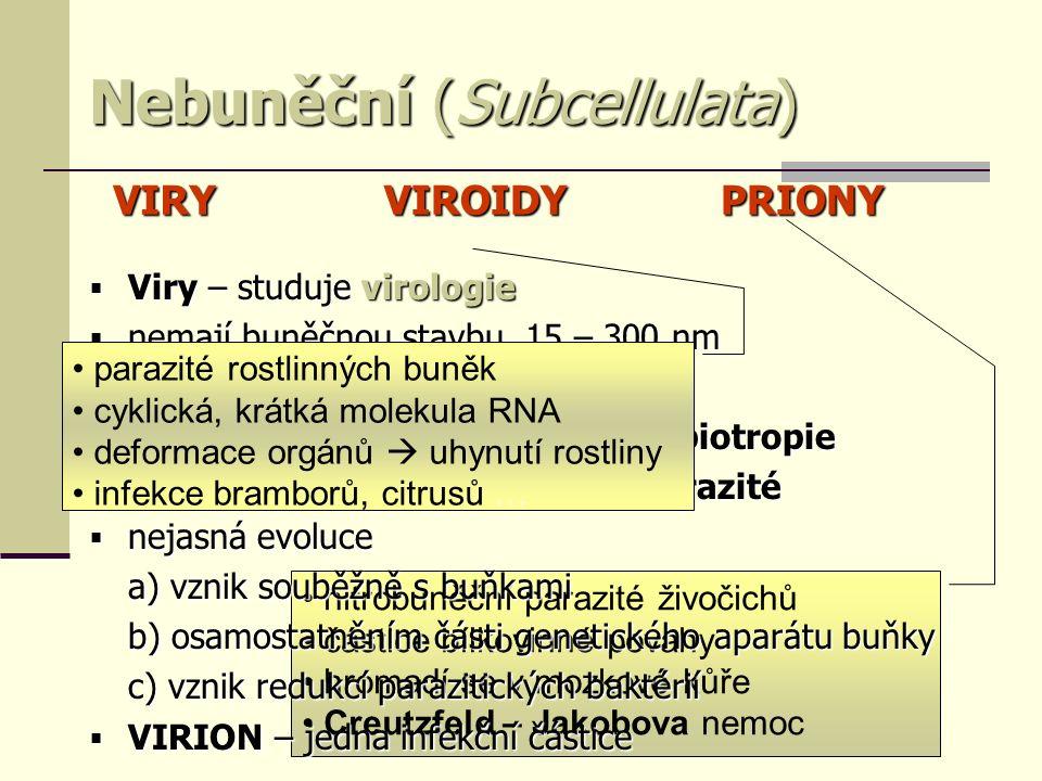 nitrobuněční parazité živočichů částice bílkovinné povahy hromadí se v mozkové kůře Creutzfeld – Jakobova nemoc Nebuněční (Subcellulata)  Viry – studuje virologie  nemají buněčnou stavbu, 15 – 300 nm  neschopny samostatného života  rozmnožováním vázány na buňky – biotropie  nitrobuněční = intracelulární parazité  nejasná evoluce a) vznik souběžně s buňkami b) osamostatněním části genetického aparátu buňky c) vznik redukcí parazitických baktérií  VIRION – jedna infekční částice VIRYVIROIDYPRIONY parazité rostlinných buněk cyklická, krátká molekula RNA deformace orgánů  uhynutí rostliny infekce bramborů, citrusů …
