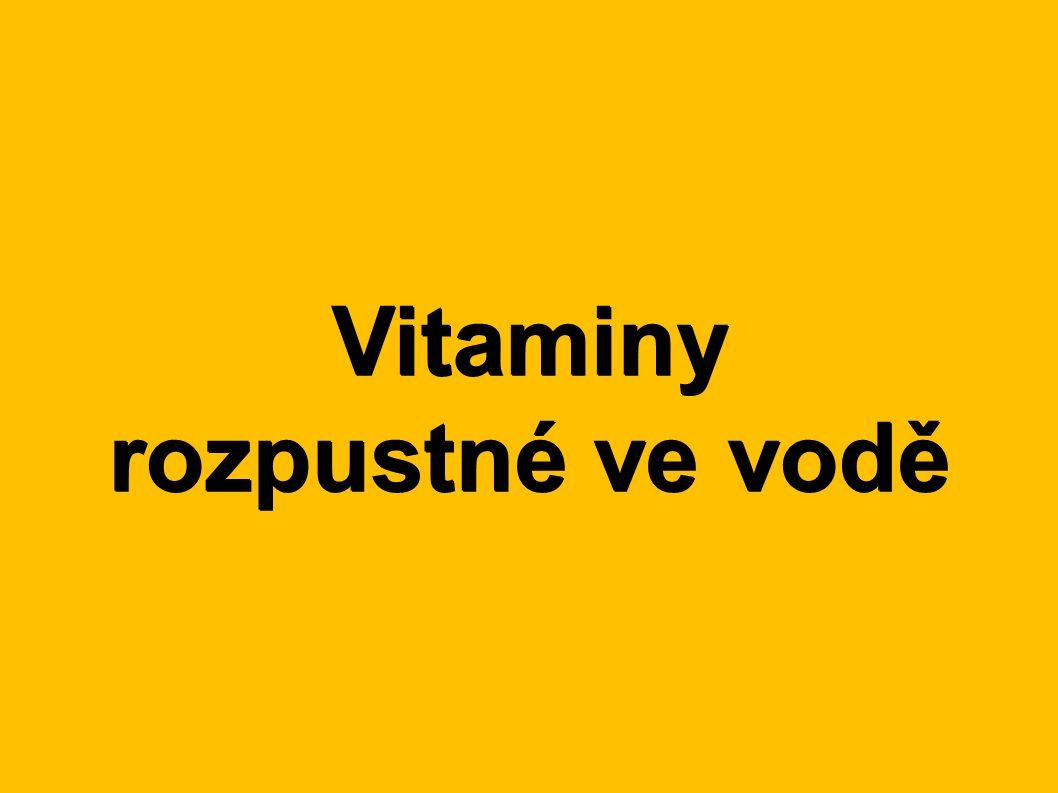 Roztřiďte vitaminy podle rozpustnosti: ●A●H●B●C●K●D●E●A●H●B●C●K●D●E ● Rozpustné ve vodě: ● H, B, C ● Rozpustné v tucích: ● A, D, E, K