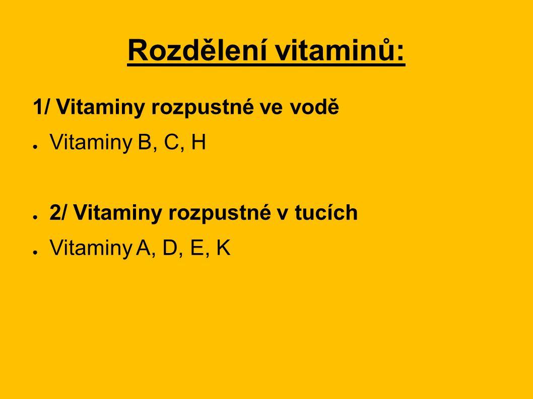 Vitaminy rozpustné ve vodě: ● Vitamin B (B-komplex) ● Vitamin B1 (také thiamin nebo aneurin) ● Vitamin B2 (riboflavin) ● Vitamin B3 (niacin) ● Vitamin B5 (kyselina pantothenová) ● Vitamin B6 (pyridoxin) ● Vitamin B9 (kyselina listová) ● Vitamin B12 (kobalamin) ● Vitamin C (kyselina L-askorbová) ● Vitamin H (biotin, B7)