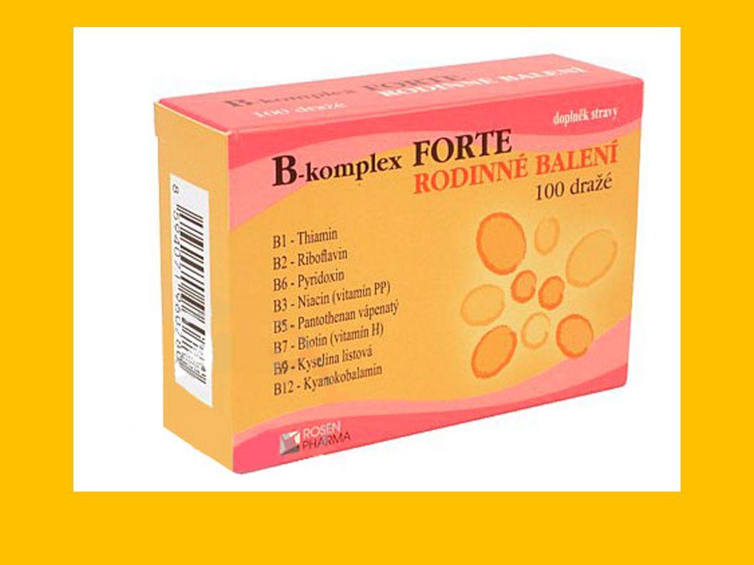 B-komplex: ● B-komplex je souhrnné označení pro vitaminy skupiny B.