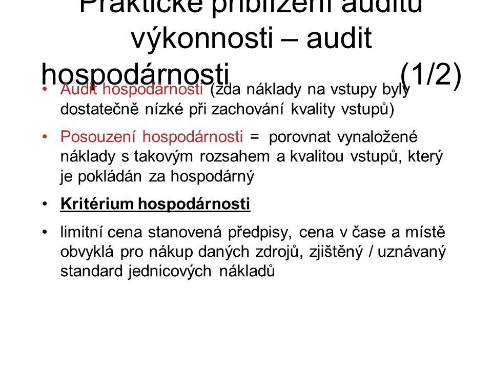 Praktické přiblížení auditu výkonnosti – audit hospodárnosti (1/2) Audit hospodárnosti (zda náklady na vstupy byly dostatečně nízké při zachování kval
