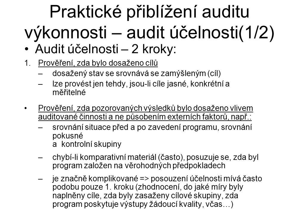 Audit účelnosti – 2 kroky: Praktické přiblížení auditu výkonnosti – audit účelnosti(1/2) 1.Prověření, zda bylo dosaženo cílů –dosažený stav se srovnáv