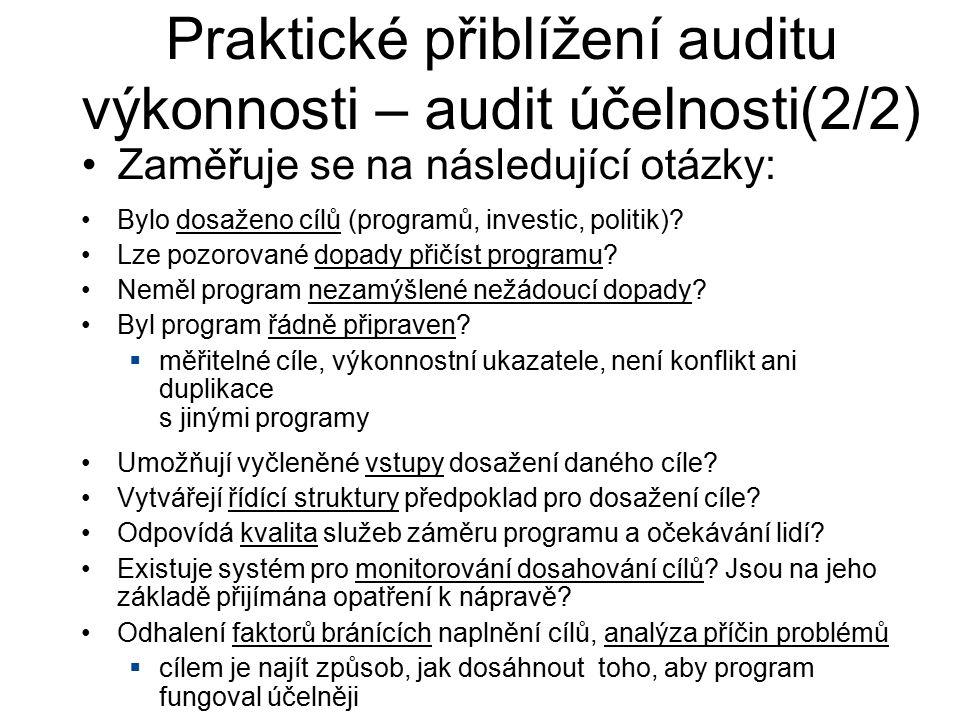Zaměřuje se na následující otázky: Praktické přiblížení auditu výkonnosti – audit účelnosti(2/2) Bylo dosaženo cílů (programů, investic, politik)? Lze