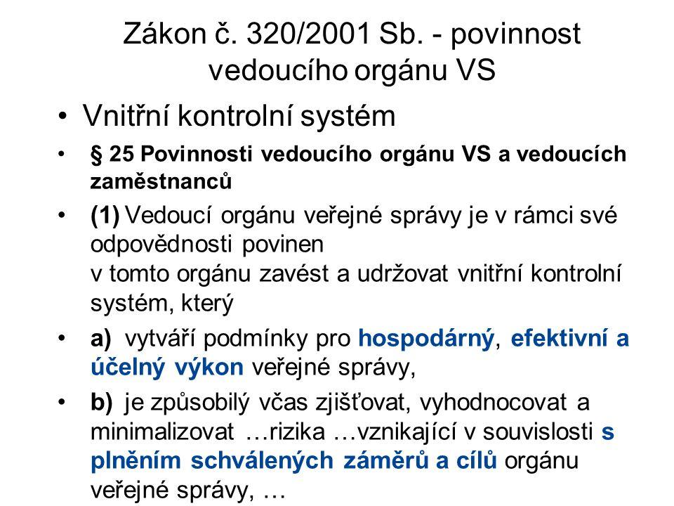 Vnitřní kontrolní systém Zákon č. 320/2001 Sb. - povinnost vedoucího orgánu VS § 25 Povinnosti vedoucího orgánu VS a vedoucích zaměstnanců (1)Vedoucí