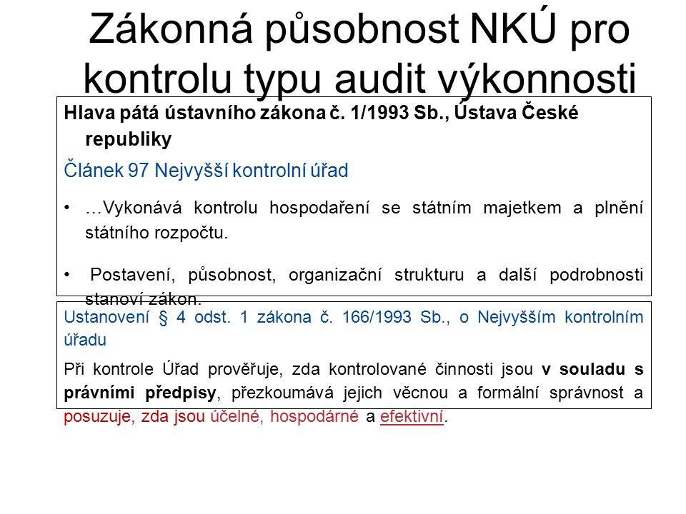 Zákonná působnost NKÚ pro kontrolu typu audit výkonnosti Hlava pátá ústavního zákona č. 1/1993 Sb., Ústava České republiky Článek 97 Nejvyšší kontroln