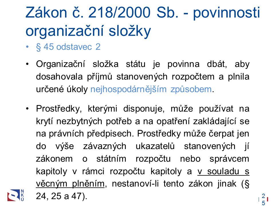 25 Zákon č. 218/2000 Sb. - povinnosti organizační složky § 45 odstavec 2 Organizační složka státu je povinna dbát, aby dosahovala příjmů stanovených r