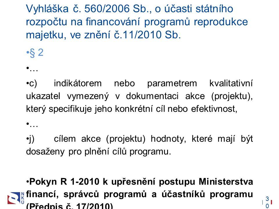 30 Vyhláška č. 560/2006 Sb., o účasti státního rozpočtu na financování programů reprodukce majetku, ve znění č.11/2010 Sb. § 2 … c) indikátorem nebo p