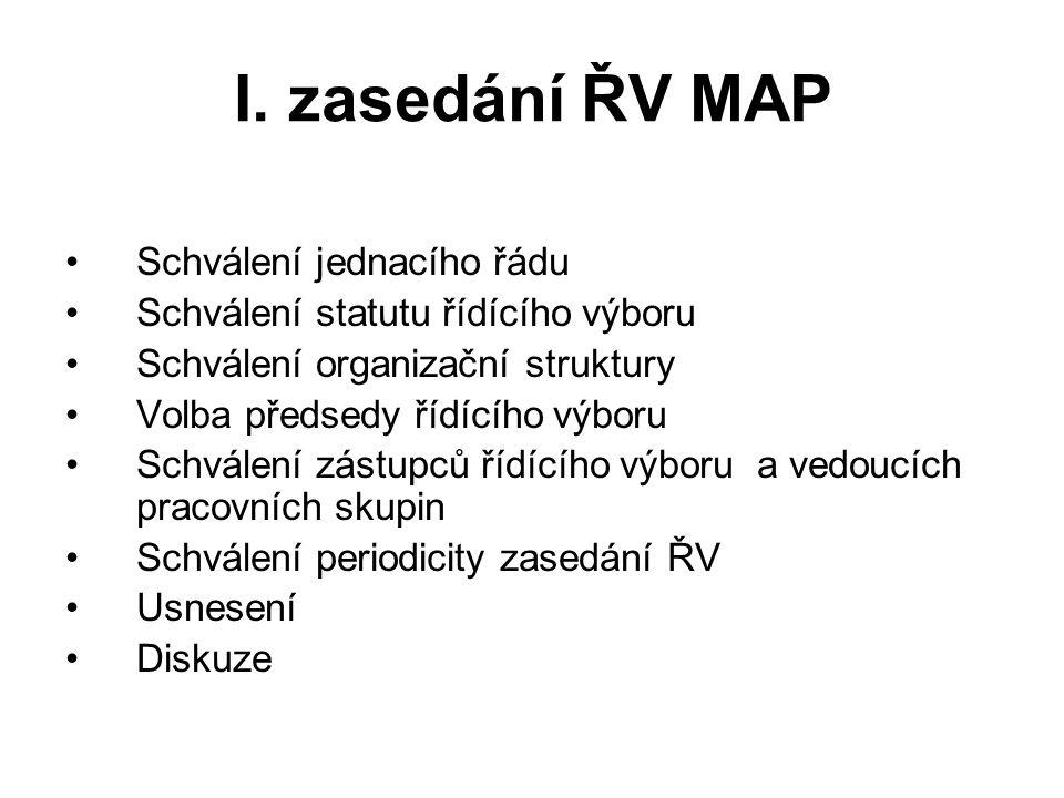 I. zasedání ŘV MAP Schválení jednacího řádu Schválení statutu řídícího výboru Schválení organizační struktury Volba předsedy řídícího výboru Schválení