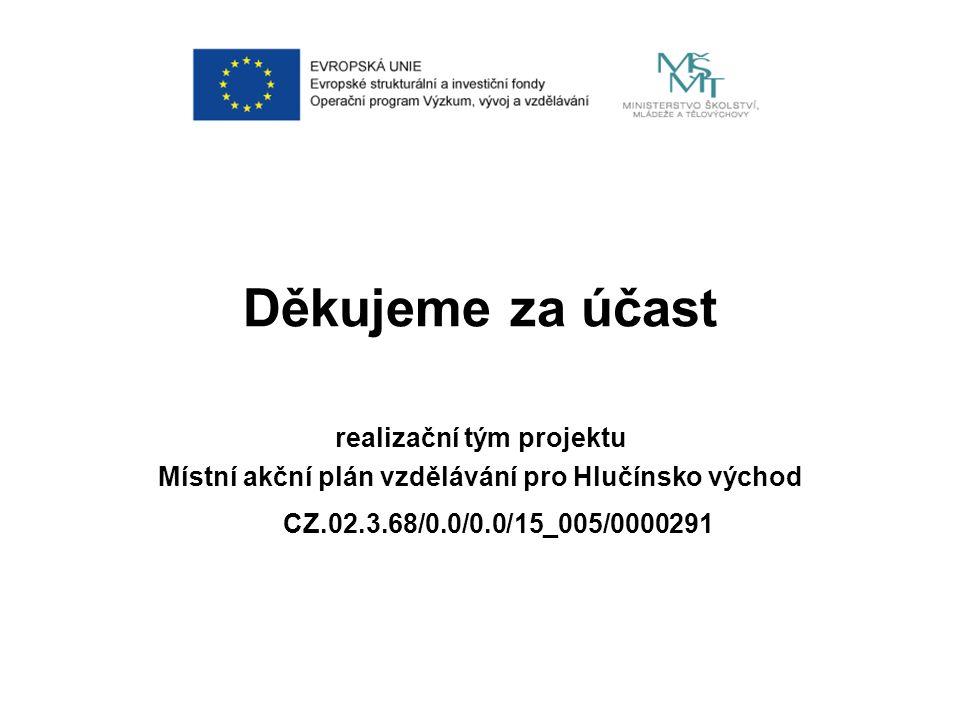 Děkujeme za účast realizační tým projektu Místní akční plán vzdělávání pro Hlučínsko východ CZ.02.3.68/0.0/0.0/15_005/0000291