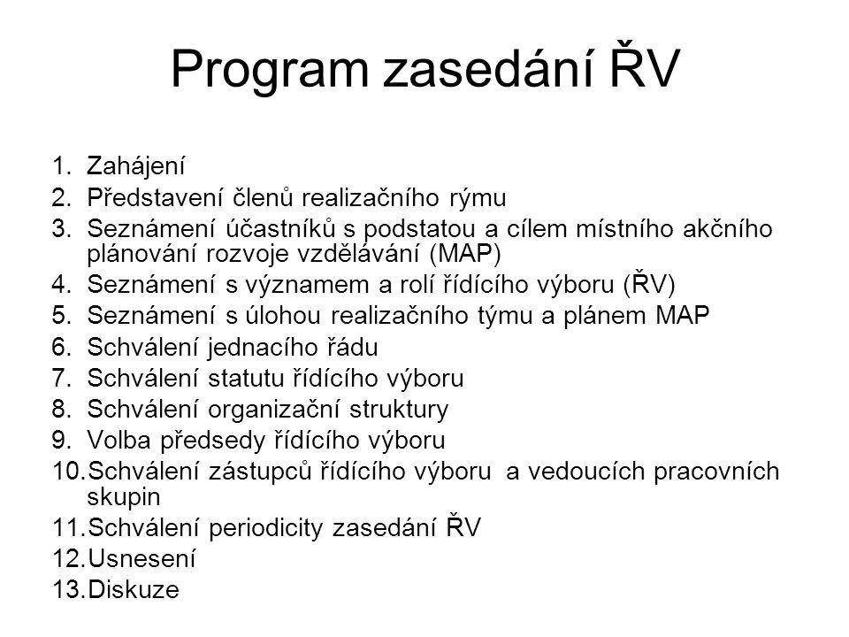 Program zasedání ŘV 1.Zahájení 2.Představení členů realizačního rýmu 3.Seznámení účastníků s podstatou a cílem místního akčního plánování rozvoje vzdělávání (MAP) 4.Seznámení s významem a rolí řídícího výboru (ŘV) 5.Seznámení s úlohou realizačního týmu a plánem MAP 6.Schválení jednacího řádu 7.Schválení statutu řídícího výboru 8.Schválení organizační struktury 9.Volba předsedy řídícího výboru 10.Schválení zástupců řídícího výboru a vedoucích pracovních skupin 11.Schválení periodicity zasedání ŘV 12.Usnesení 13.Diskuze