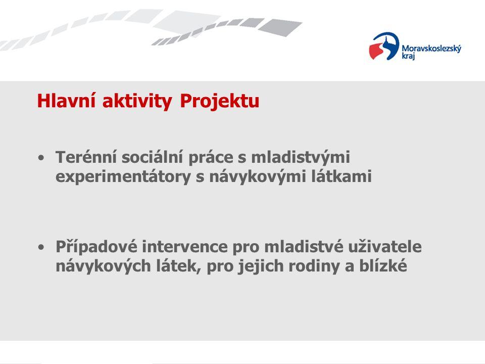 Hlavní aktivity Projektu Terénní sociální práce s mladistvými experimentátory s návykovými látkami Případové intervence pro mladistvé uživatele návykových látek, pro jejich rodiny a blízké