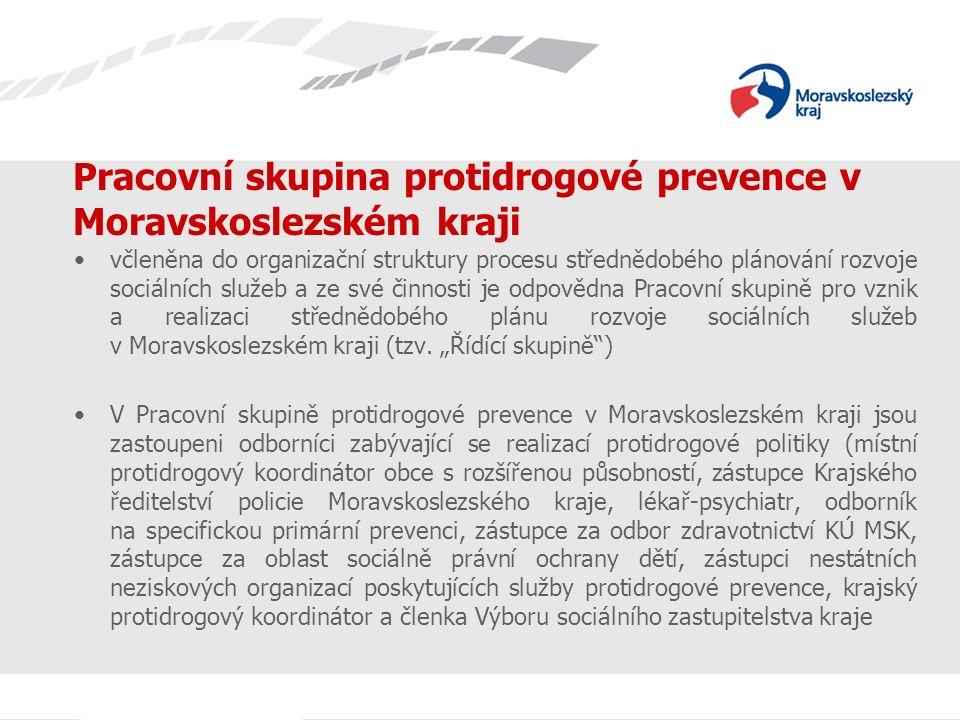 Pracovní skupina protidrogové prevence v Moravskoslezském kraji včleněna do organizační struktury procesu střednědobého plánování rozvoje sociálních služeb a ze své činnosti je odpovědna Pracovní skupině pro vznik a realizaci střednědobého plánu rozvoje sociálních služeb v Moravskoslezském kraji (tzv.