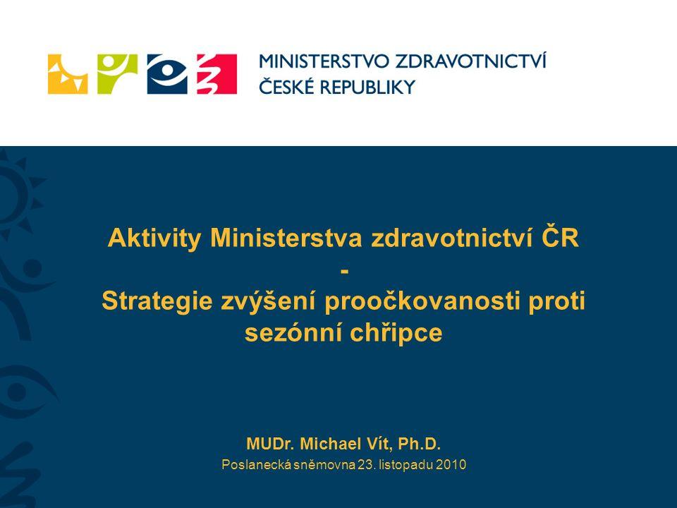 Aktivity Ministerstva zdravotnictví ČR - Strategie zvýšení proočkovanosti proti sezónní chřipce MUDr.