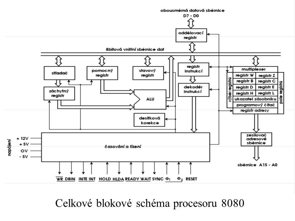 Celkové blokové schéma procesoru 8080