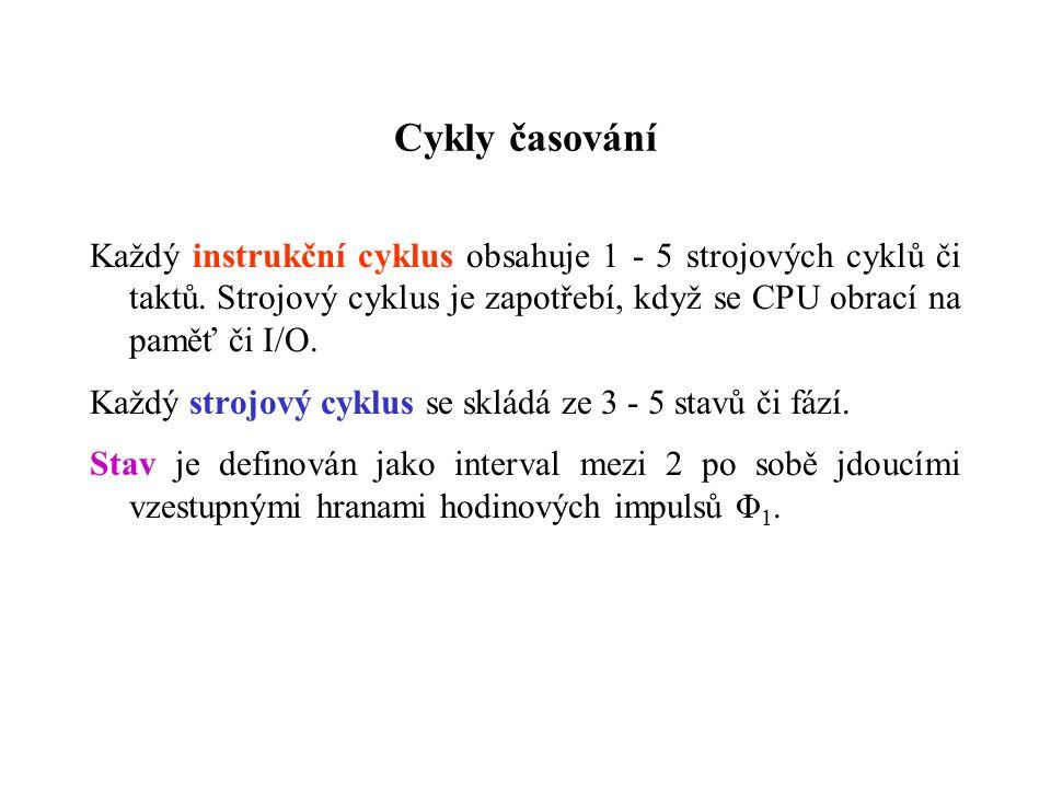 Cykly časování Každý instrukční cyklus obsahuje 1 - 5 strojových cyklů či taktů.