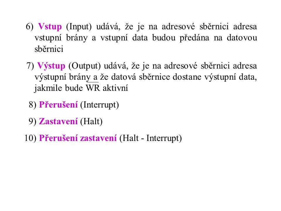 6) Vstup (Input) udává, že je na adresové sběrnici adresa vstupní brány a vstupní data budou předána na datovou sběrnici 7) Výstup (Output) udává, že je na adresové sběrnici adresa výstupní brány a že datová sběrnice dostane výstupní data, jakmile bude WR aktivní 8) Přerušení (Interrupt) 9) Zastavení (Halt) 10) Přerušení zastavení (Halt - Interrupt)