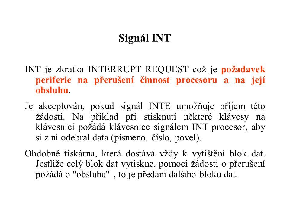 Signál INT INT je zkratka INTERRUPT REQUEST což je požadavek periferie na přerušení činnost procesoru a na její obsluhu.