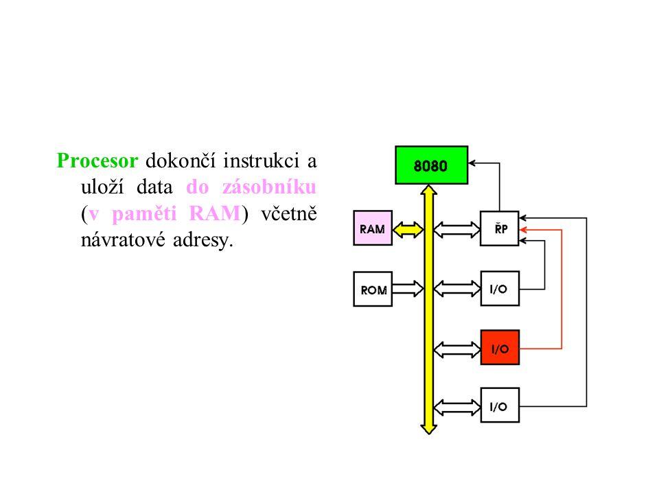 Procesor dokončí instrukci a uloží data do zásobníku (v paměti RAM) včetně návratové adresy.