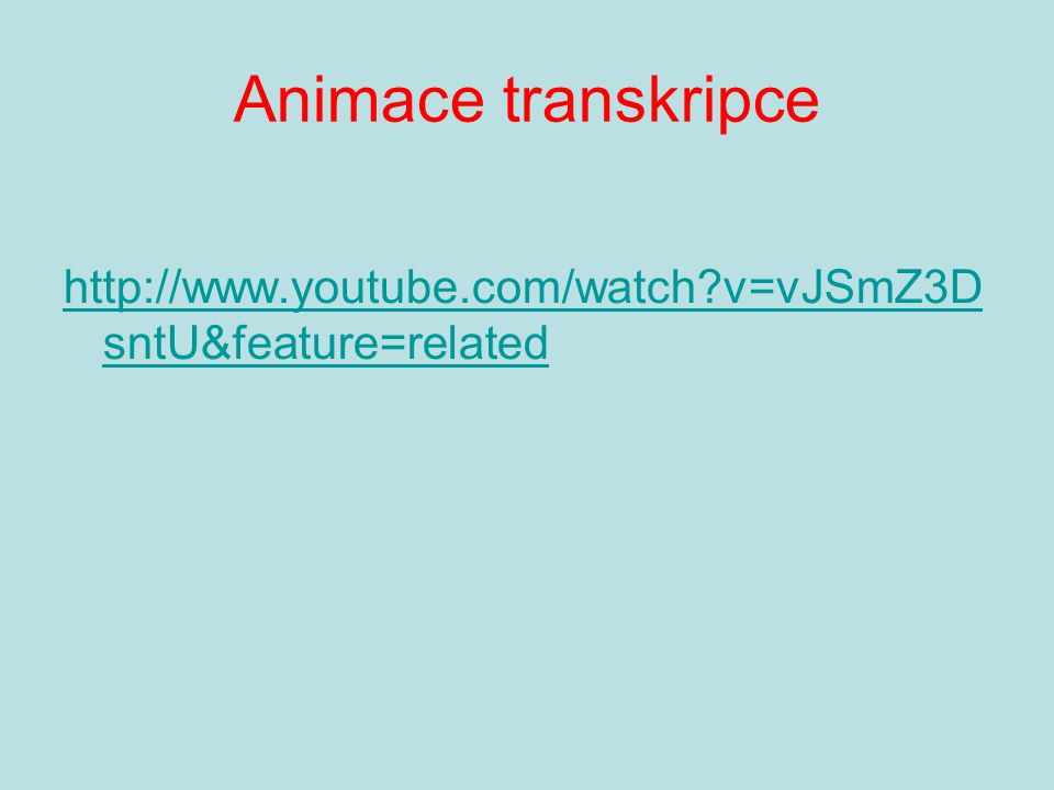 Animace transkripce http://www.youtube.com/watch?v=vJSmZ3D sntU&feature=related