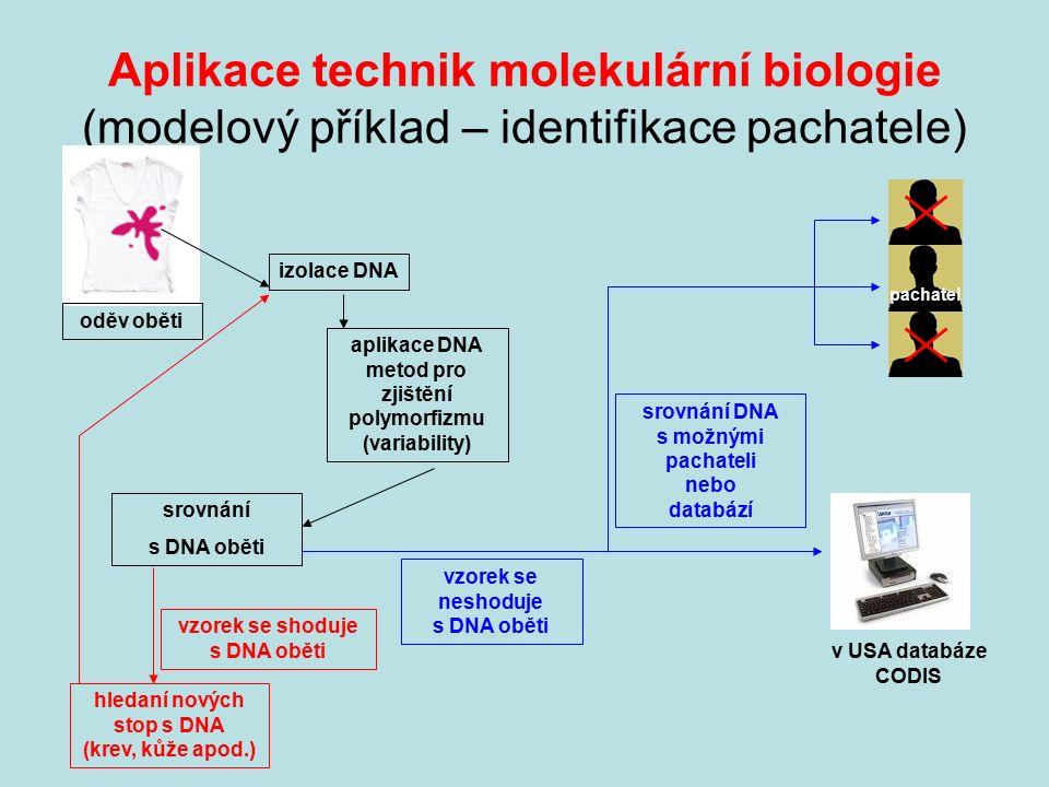 Aplikace technik molekulární biologie (modelový příklad – identifikace pachatele) izolace DNA oděv oběti aplikace DNA metod pro zjištění polymorfizmu