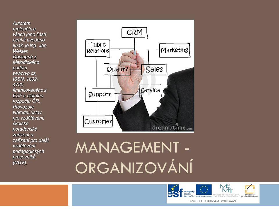 MANAGEMENT - ORGANIZOVÁNÍ Autorem materiálu a všech jeho částí, není-li uvedeno jinak, je Ing.