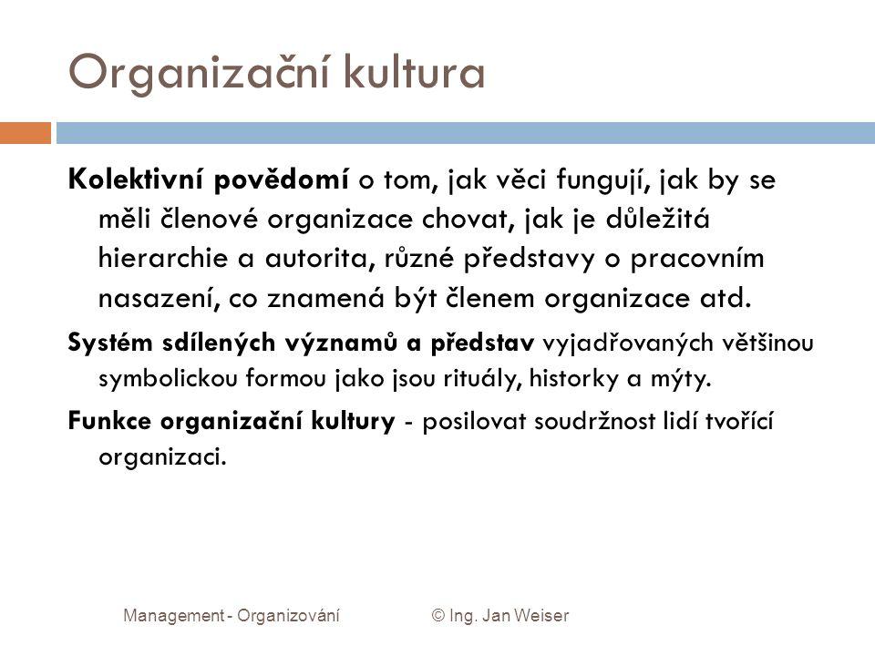 Organizační kultura Kolektivní povědomí o tom, jak věci fungují, jak by se měli členové organizace chovat, jak je důležitá hierarchie a autorita, různé představy o pracovním nasazení, co znamená být členem organizace atd.