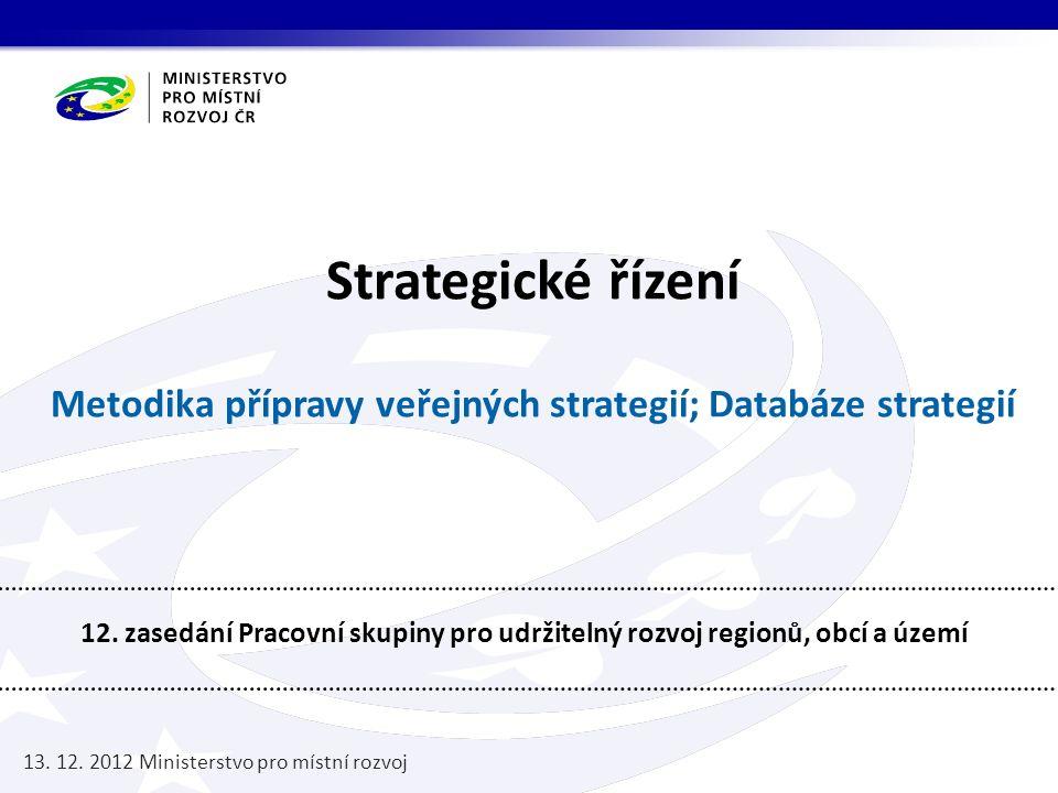 Strategické řízení Metodika přípravy veřejných strategií; Databáze strategií 12. zasedání Pracovní skupiny pro udržitelný rozvoj regionů, obcí a území