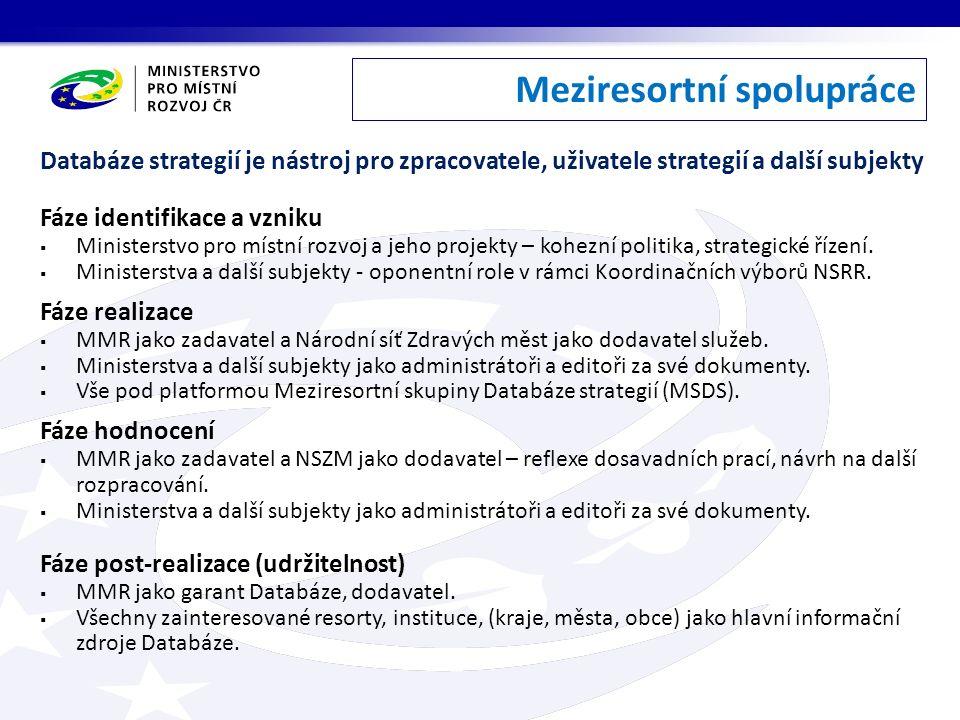 Meziresortní spolupráce Databáze strategií je nástroj pro zpracovatele, uživatele strategií a další subjekty Fáze identifikace a vzniku  Ministerstvo pro místní rozvoj a jeho projekty – kohezní politika, strategické řízení.