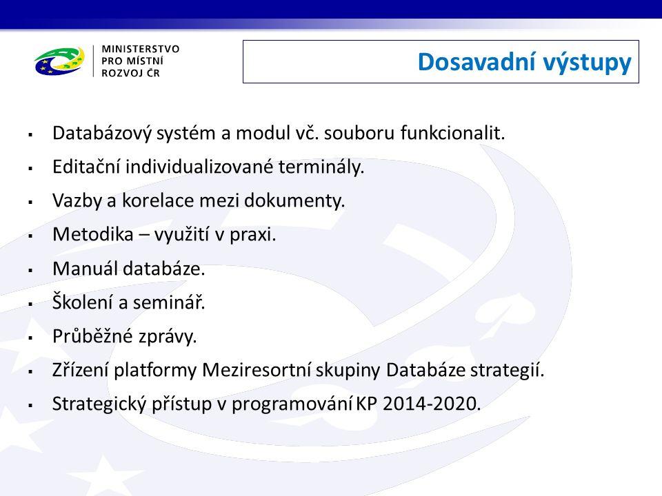 Dosavadní výstupy  Databázový systém a modul vč. souboru funkcionalit.  Editační individualizované terminály.  Vazby a korelace mezi dokumenty.  M