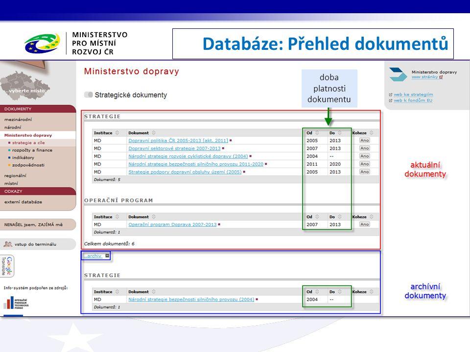 Databáze: Přehled dokumentů doba platnosti dokumentu
