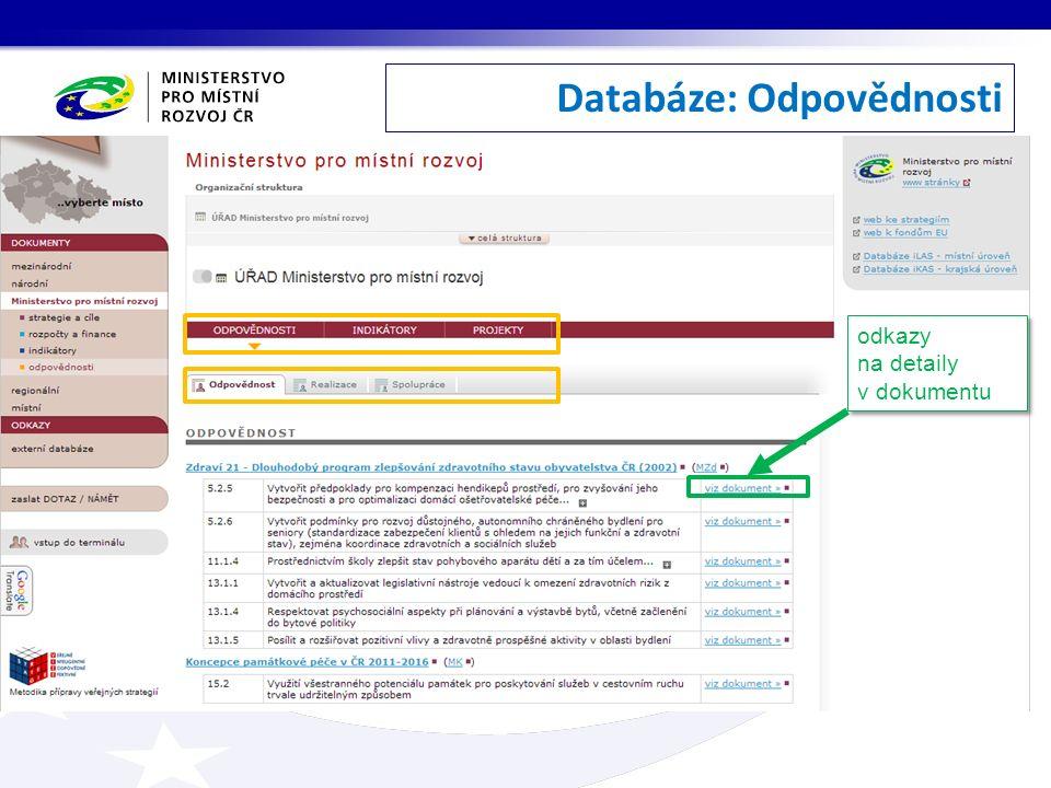 Databáze: Odpovědnosti odkazy na detaily v dokumentu