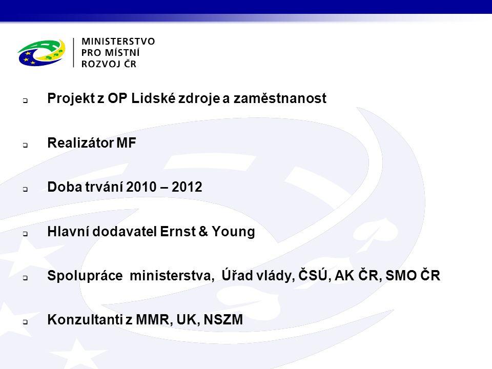  Projekt z OP Lidské zdroje a zaměstnanost  Realizátor MF  Doba trvání 2010 – 2012  Hlavní dodavatel Ernst & Young  Spolupráce ministerstva, Úřad