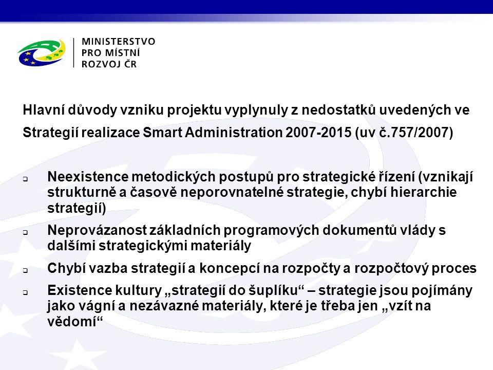 """Hlavní důvody vzniku projektu vyplynuly z nedostatků uvedených ve Strategií realizace Smart Administration 2007-2015 (uv č.757/2007)  Neexistence metodických postupů pro strategické řízení (vznikají strukturně a časově neporovnatelné strategie, chybí hierarchie strategií)  Neprovázanost základních programových dokumentů vlády s dalšími strategickými materiály  Chybí vazba strategií a koncepcí na rozpočty a rozpočtový proces  Existence kultury """"strategií do šuplíku – strategie jsou pojímány jako vágní a nezávazné materiály, které je třeba jen """"vzít na vědomí"""