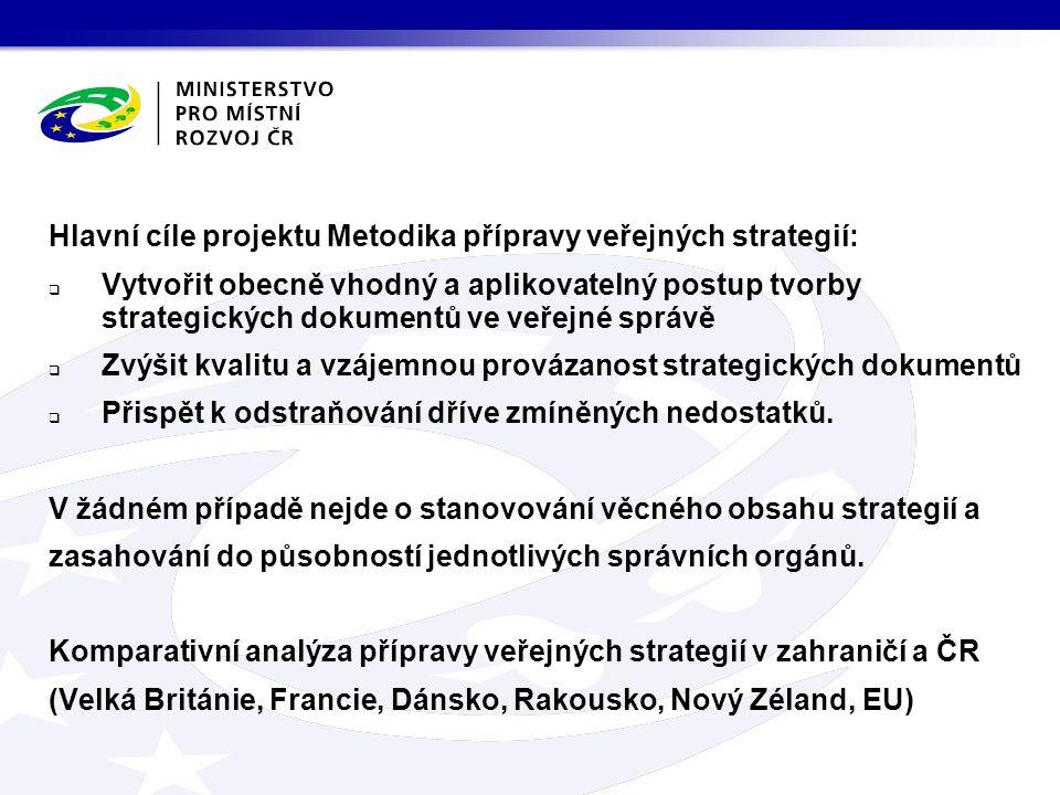 Hlavní cíle projektu Metodika přípravy veřejných strategií:  Vytvořit obecně vhodný a aplikovatelný postup tvorby strategických dokumentů ve veřejné