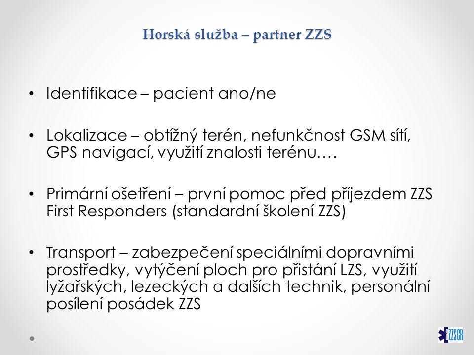 Horská služba – partner ZZS Identifikace – pacient ano/ne Lokalizace – obtížný terén, nefunkčnost GSM sítí, GPS navigací, využití znalosti terénu…. Pr