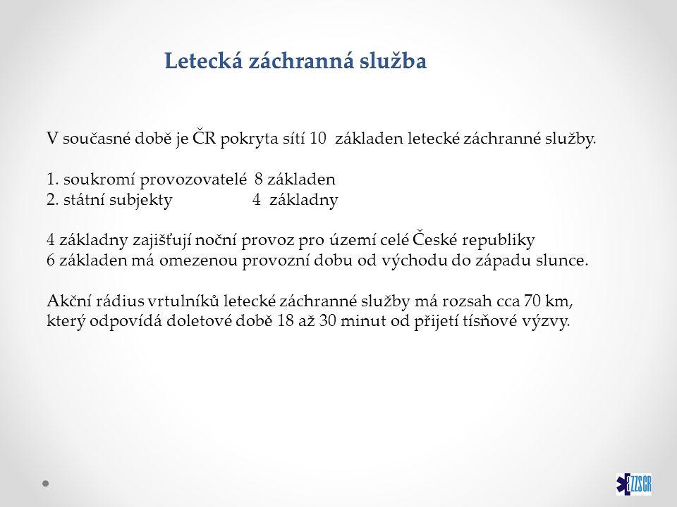 V současné době je ČR pokryta sítí 10 základen letecké záchranné služby. 1. soukromí provozovatelé 8 základen 2. státní subjekty 4 základny 4 základny