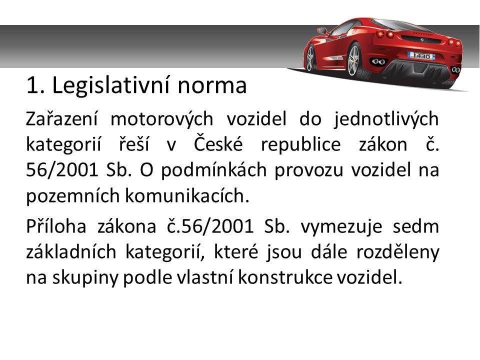 Zařazení motorových vozidel do jednotlivých kategorií řeší v České republice zákon č. 56/2001 Sb. O podmínkách provozu vozidel na pozemních komunikací