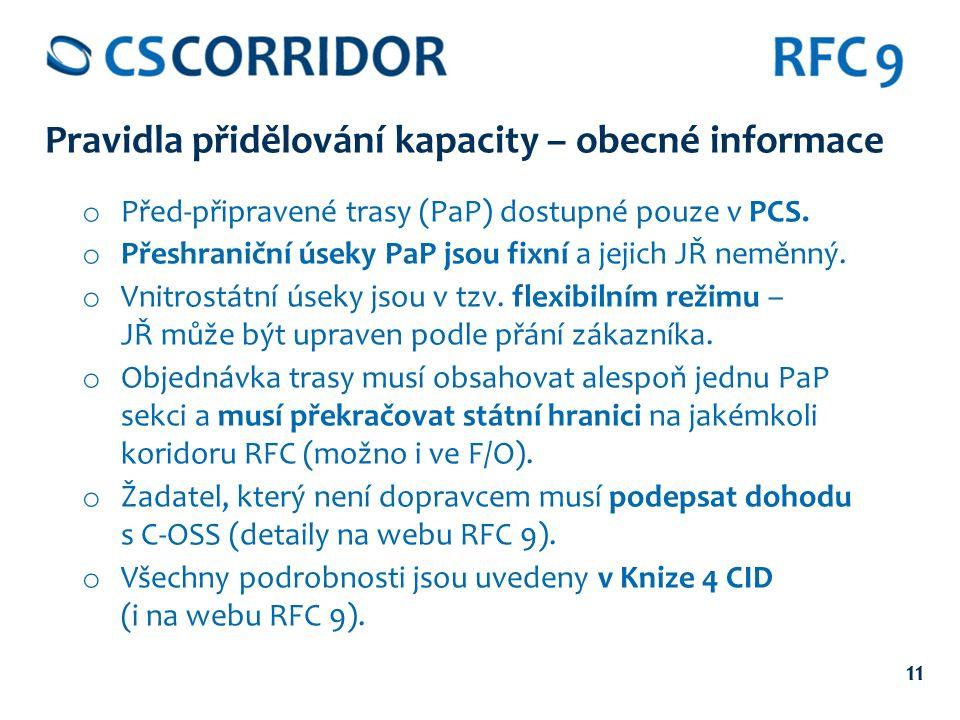 11 Pravidla přidělování kapacity – obecné informace o Před-připravené trasy (PaP) dostupné pouze v PCS.