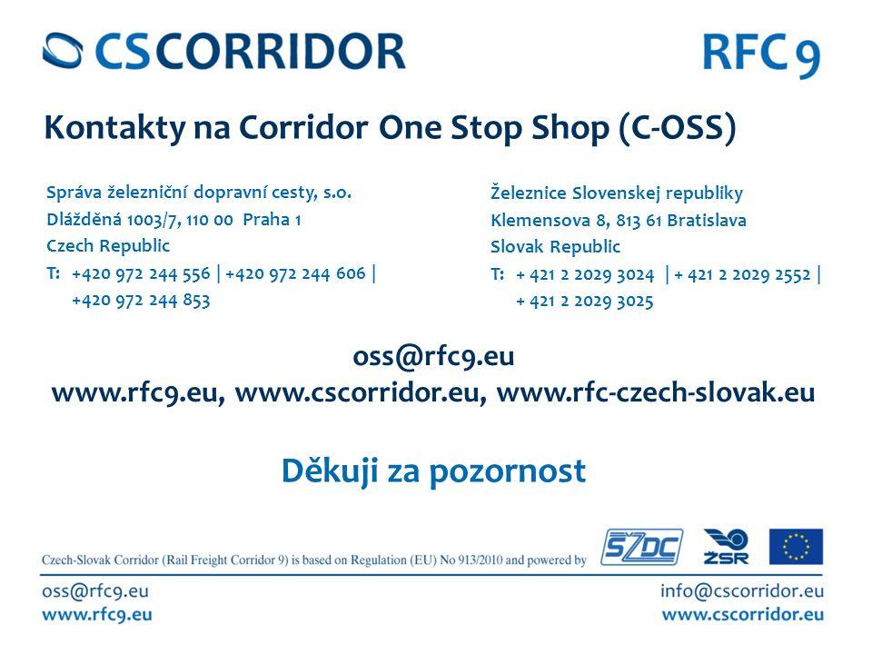 13 Děkuji za pozornost EU Rail Freight Day 2015, Vienna, December 4 th 2015 Kontakty na Corridor One Stop Shop (C-OSS) Správa železniční dopravní cesty, s.o.