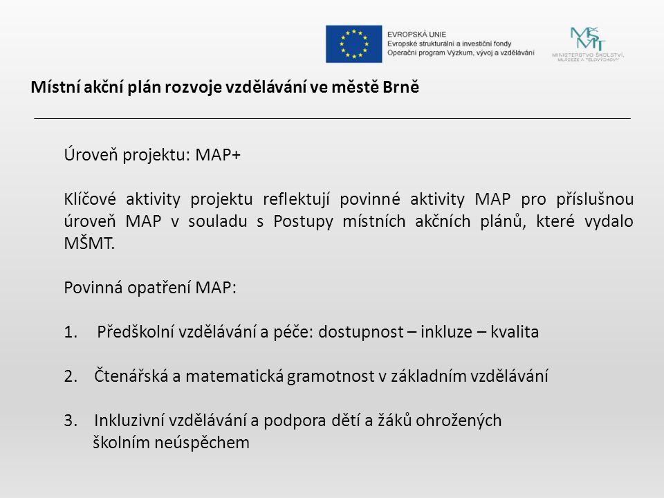 Místní akční plán rozvoje vzdělávání ve městě Brně Úroveň projektu: MAP+ Klíčové aktivity projektu reflektují povinné aktivity MAP pro příslušnou úroveň MAP v souladu s Postupy místních akčních plánů, které vydalo MŠMT.