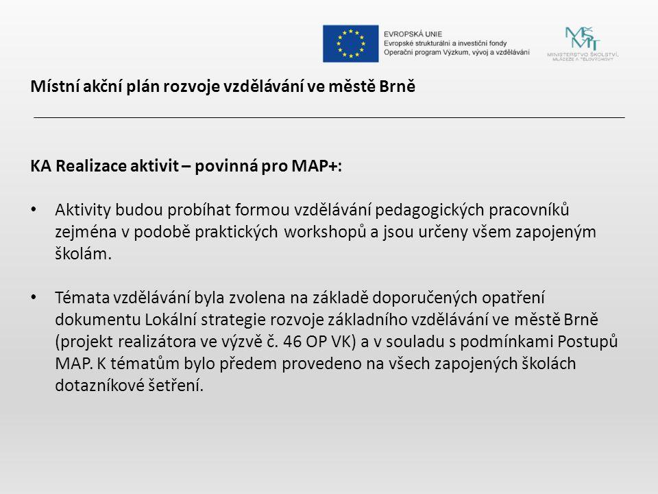 Místní akční plán rozvoje vzdělávání ve městě Brně KA Realizace aktivit – povinná pro MAP+: Aktivity budou probíhat formou vzdělávání pedagogických pracovníků zejména v podobě praktických workshopů a jsou určeny všem zapojeným školám.