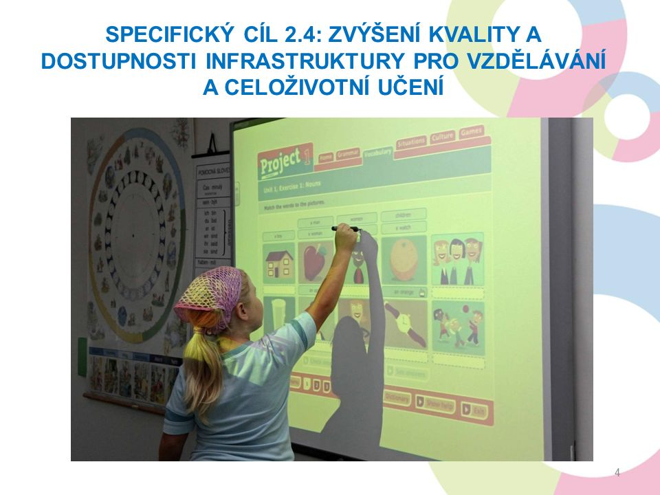 SPECIFICKÝ CÍL 2.4: ZVÝŠENÍ KVALITY A DOSTUPNOSTI INFRASTRUKTURY PRO VZDĚLÁVÁNÍ A CELOŽIVOTNÍ UČENÍ 4