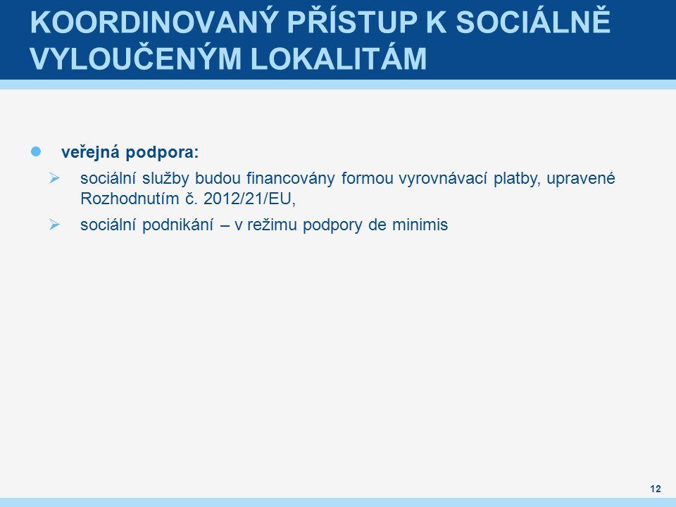 KOORDINOVANÝ PŘÍSTUP K SOCIÁLNĚ VYLOUČENÝM LOKALITÁM veřejná podpora:  sociální služby budou financovány formou vyrovnávací platby, upravené Rozhodnutím č.