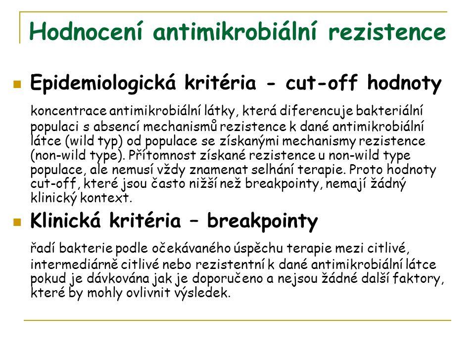 Hodnocení antimikrobiální rezistence Epidemiologická kritéria - cut-off hodnoty koncentrace antimikrobiální látky, která diferencuje bakteriální populaci s absencí mechanismů rezistence k dané antimikrobiální látce (wild typ) od populace se získanými mechanismy rezistence (non-wild type).