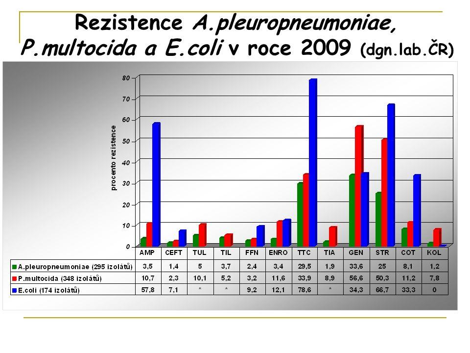 Rezistence A.pleuropneumoniae, P.multocida a E.coli v roce 2009 (dgn.lab.ČR)