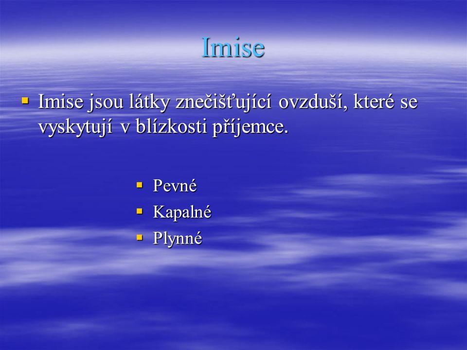 Imise  Imise jsou látky znečišťující ovzduší, které se vyskytují v blízkosti příjemce.