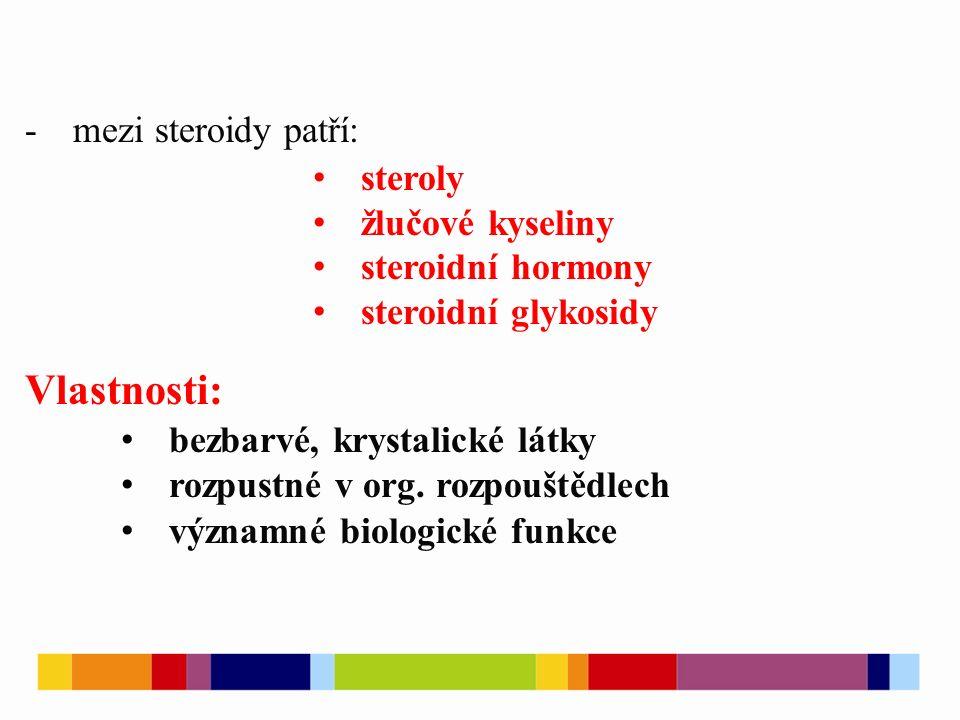 -mezi steroidy patří: steroly žlučové kyseliny steroidní hormony steroidní glykosidy Vlastnosti: bezbarvé, krystalické látky rozpustné v org.