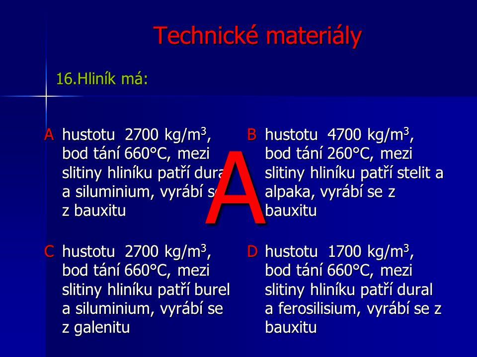 Technické materiály Ahustotu 2700 kg/m 3, bod tání 660°C, mezi slitiny hliníku patří dural a siluminium, vyrábí se z bauxitu B hustotu 4700 kg/m 3, bod tání 260°C, mezi slitiny hliníku patří stelit a alpaka, vyrábí se z bauxitu C hustotu 2700 kg/m 3, bod tání 660°C, mezi slitiny hliníku patří burel a siluminium, vyrábí se z galenitu D hustotu 1700 kg/m 3, bod tání 660°C, mezi slitiny hliníku patří dural a ferosilisium, vyrábí se z bauxitu 16.Hliník má: A
