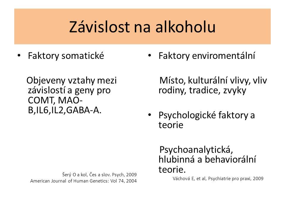 Závislost na alkoholu Faktory somatické Objeveny vztahy mezi závislostí a geny pro COMT, MAO- B,IL6,IL2,GABA-A. Šerý O a kol, Čes a slov. Psych, 2009