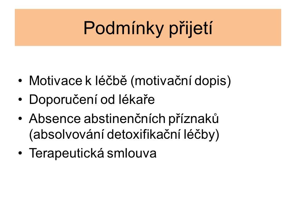 Podmínky přijetí Motivace k léčbě (motivační dopis) Doporučení od lékaře Absence abstinenčních příznaků (absolvování detoxifikační léčby) Terapeutická smlouva